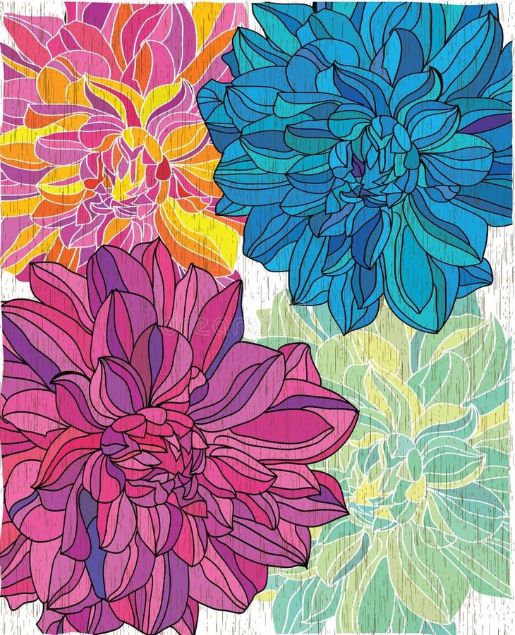 Fondo texturizado estilizado con las flores coloridas brillantes ilustración del vector