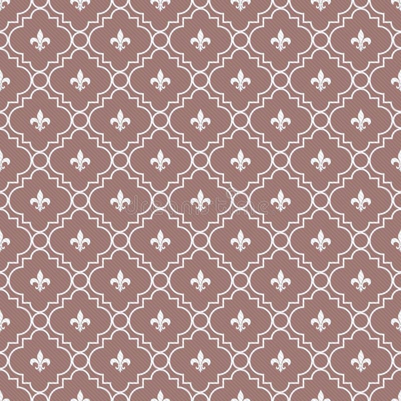 Fondo texturizado modelo blanco de la tela de la flor de lis y marrón libre illustration
