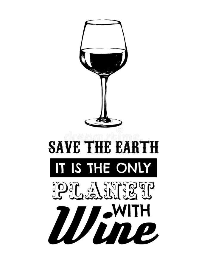 Fondo tipográfico de la cita del vector sobre el vino libre illustration
