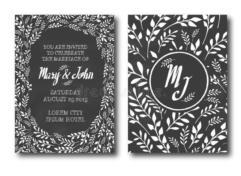 Fondo tipográfico del vintage de la invitación de la boda ilustración del vector