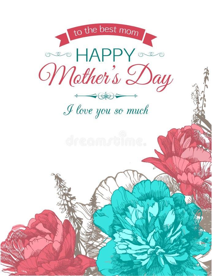 Fondo tipográfico feliz del día de madres stock de ilustración