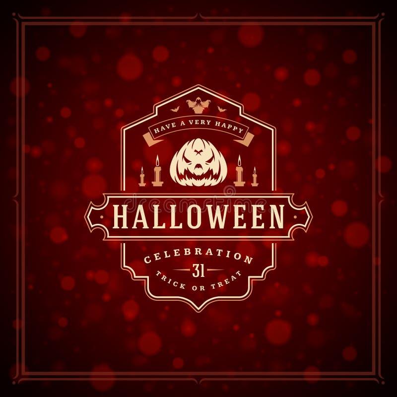 Fondo tipografico di vettore di progettazione della cartolina d'auguri di Halloween fotografie stock
