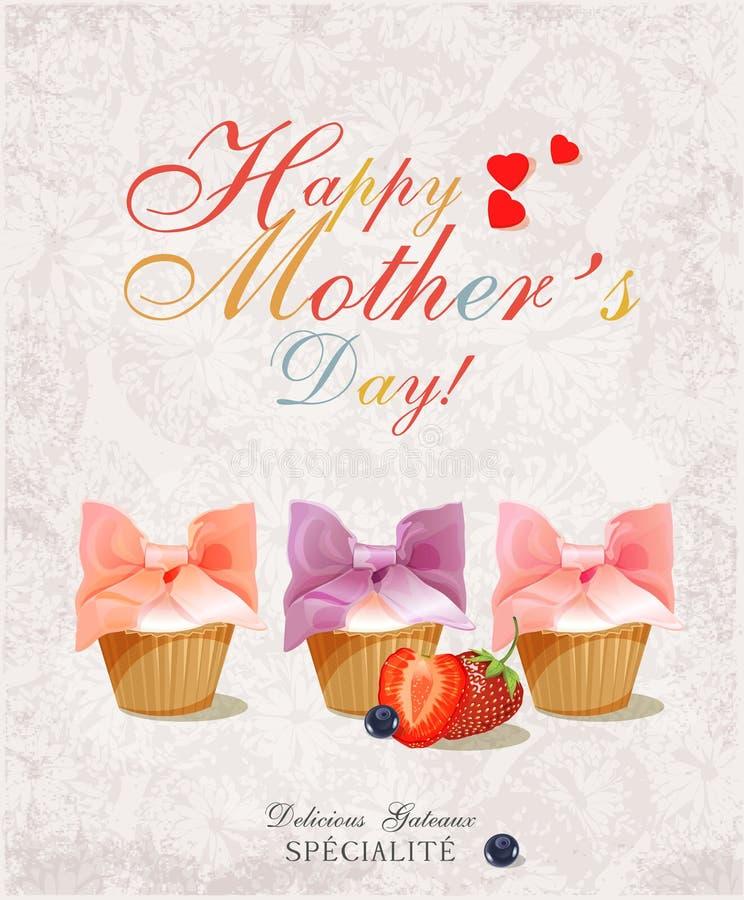 Fondo tipografico felice d'annata del giorno delle madri Manifesto con i bigné nel retro stile illustrazione di stock