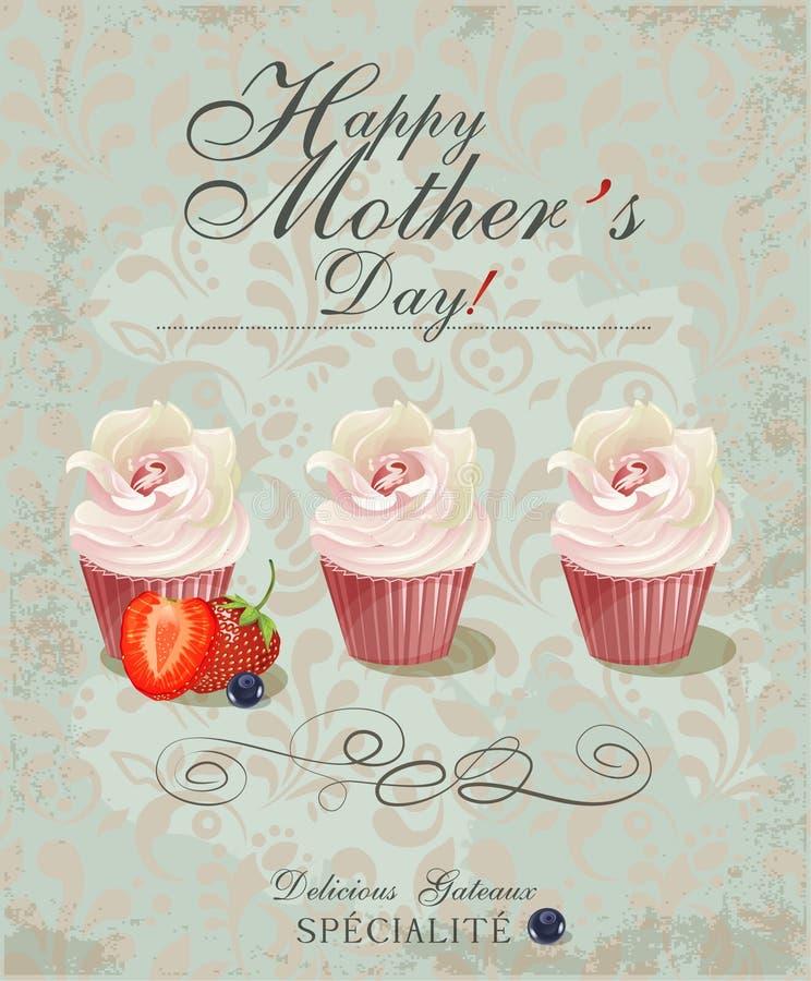 Fondo tipografico felice d'annata del giorno delle madri Manifesto con i bigné nel retro stile royalty illustrazione gratis