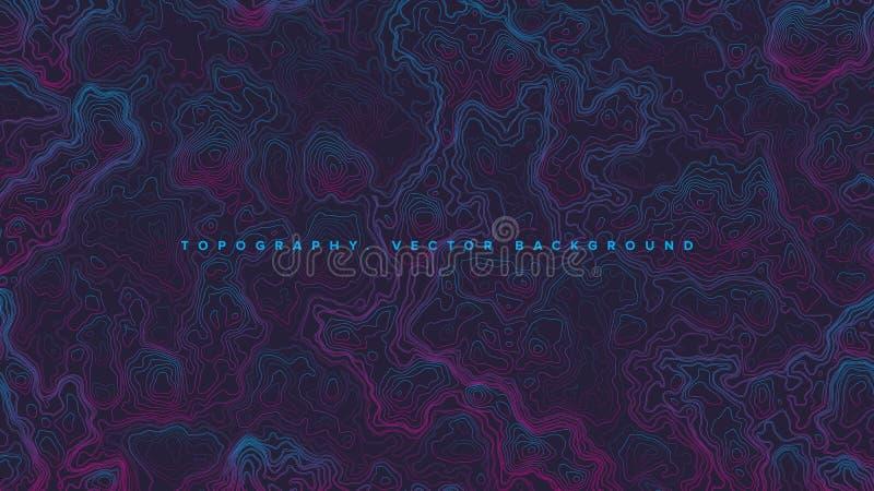 Fondo topográfico de Vaporwave del mapa de contorno del extracto del vector ilustración del vector