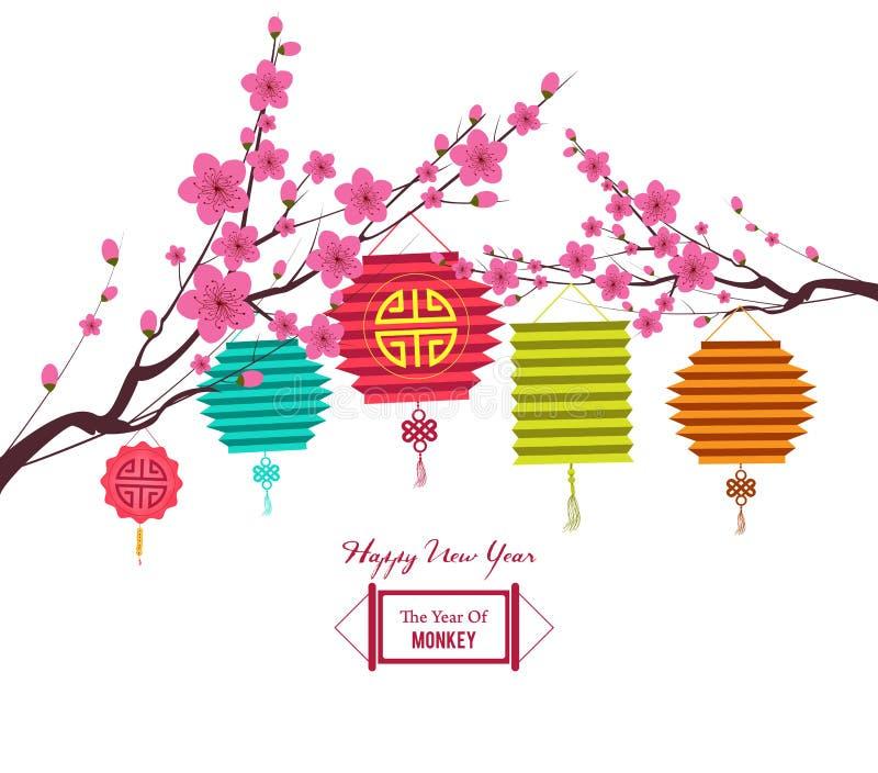 Fondo tradicional para las tradiciones del Año Nuevo chino con la linterna stock de ilustración