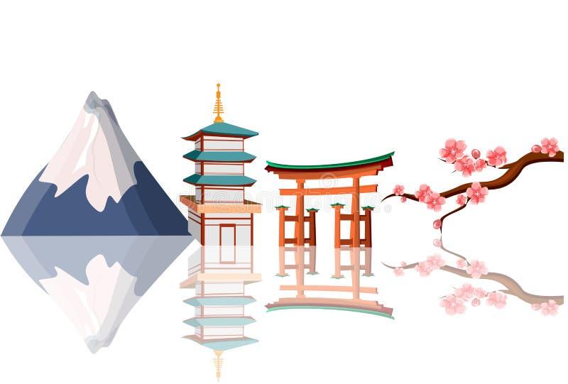 Fondo tradizionale giapponese bianco royalty illustrazione gratis