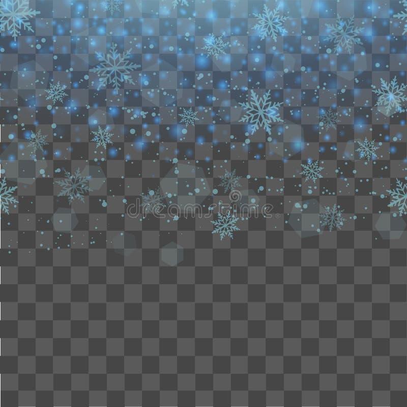 Fondo transparente de la Navidad y del Año Nuevo con los copos de nieve azules que caen Vector stock de ilustración