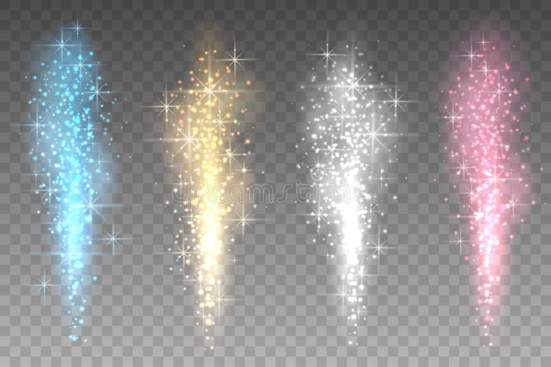 Fondo transparente de las luces de los fuegos artificiales El salir a borbotones brillante encima del ejemplo del vector de los r libre illustration