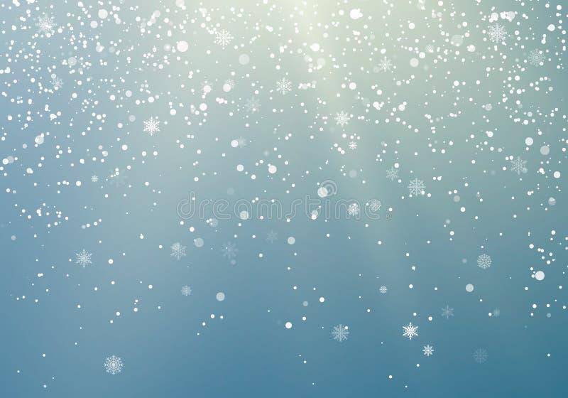 Fondo transparente de los copos de nieve que cae Modelo del invierno con los copos de nieve crystallic Fondo de la Navidad y del  ilustración del vector