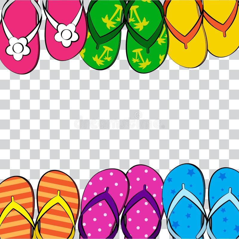Fondo transparente divertido del verano con la chancleta colorida brillante, desgaste del pie Estilo del c?mic Ilustraci?n del ve stock de ilustración
