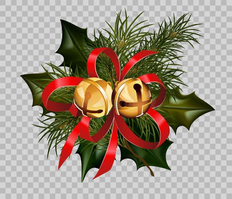 Fondo trasparente di vettore dell'elemento delle campane dorate dell'arco della corona dell'abete dell'agrifoglio della decorazio royalty illustrazione gratis