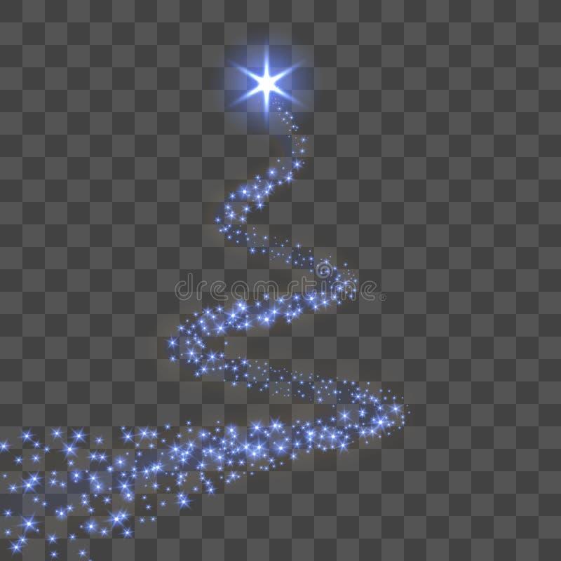 Fondo trasparente nero isolato traccia della stella Cometa leggera magica blu, scintilla brillante Fucilazione di scintillio di s illustrazione di stock
