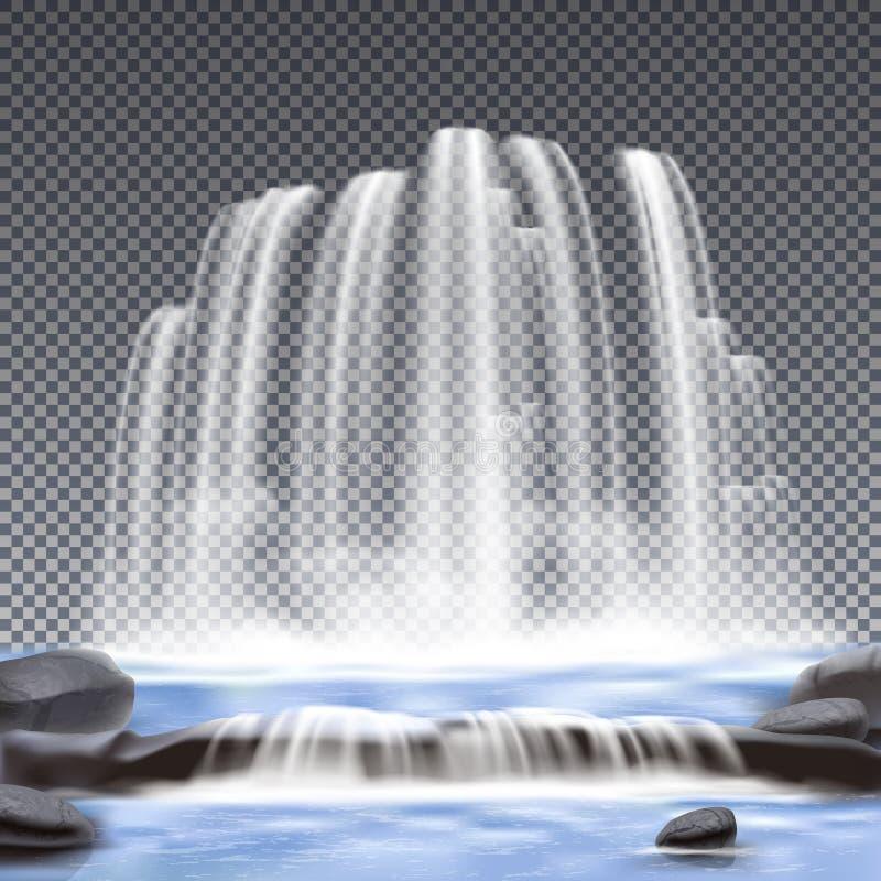 Fondo trasparente realistico delle cascate illustrazione vettoriale