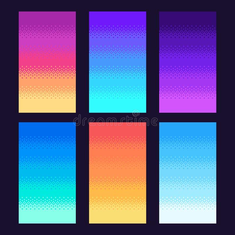 Fondo tremante dei pixel Vecchia retro pendenza di arte del pixel del video gioco, retro illustrazione pungente di vettore del ci royalty illustrazione gratis