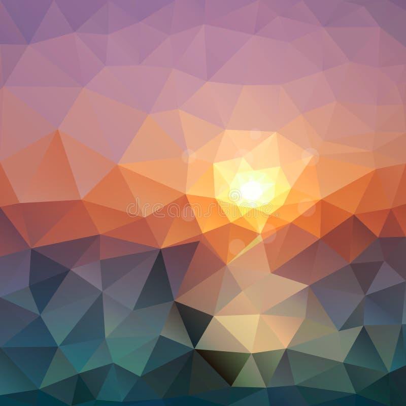 Fondo triangular abstracto Textura brillante del polígono de la puesta del sol del mar para el diseño moderno stock de ilustración