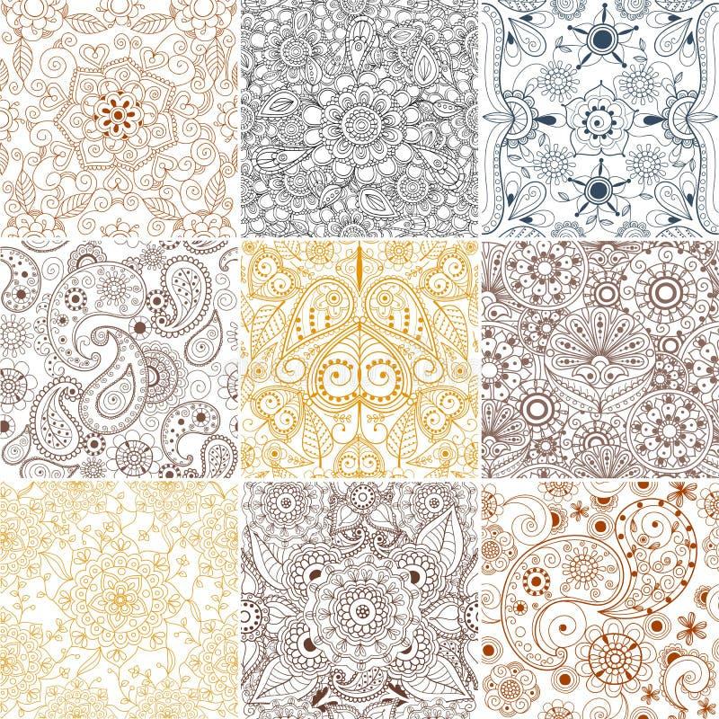 Fondo tribal dibujado mano floral de la India Paisley del modelo de la alheña del ejemplo del vector del ornamento del modelo del stock de ilustración