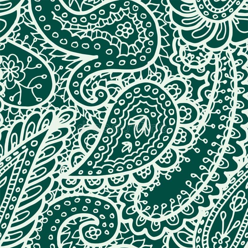Fondo tribal dibujado mano floral de la India Paisley del modelo del mhendi de la alheña del ejemplo del vector del ornamento del stock de ilustración