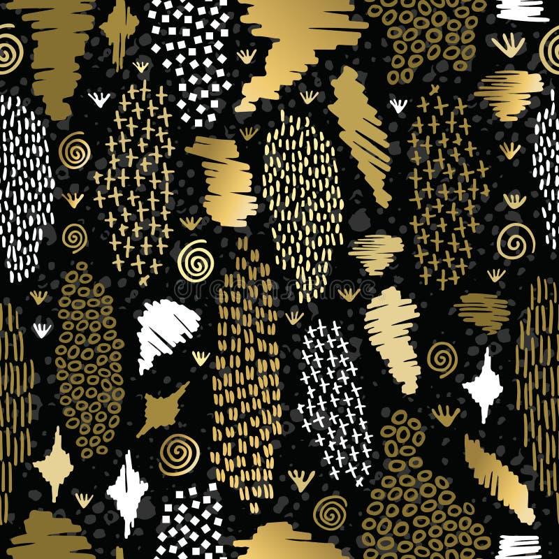 Fondo tribale del modello senza cuciture di boho dell'oro retro illustrazione vettoriale