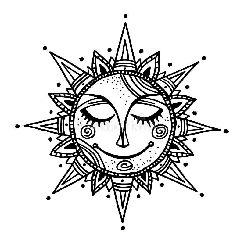 Fondo tribale del sole disegnato a mano di estate illustrazione di stock