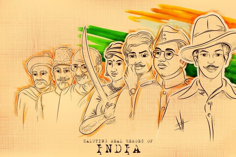 Fondo tricolor de la India con el héroe de la nación y combatiente de la libertad para el Día de la Independencia ilustración del vector