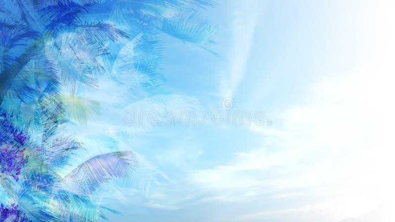 Fondo tropical azul ilustración del vector