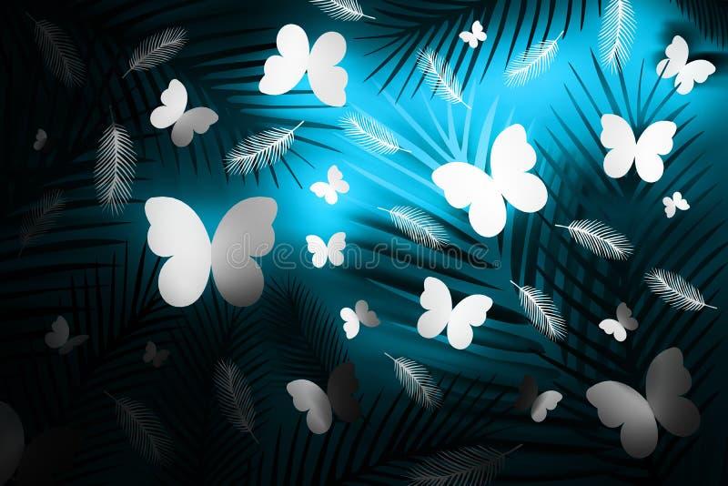 Fondo tropical azul de neón con las plumas y las mariposas stock de ilustración