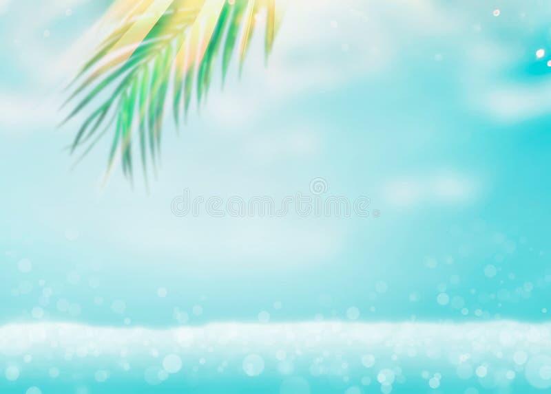 Fondo tropical borroso de las vacaciones del mar del verano con las hojas de palma verdes de la ejecución en la playa con el boke fotos de archivo libres de regalías