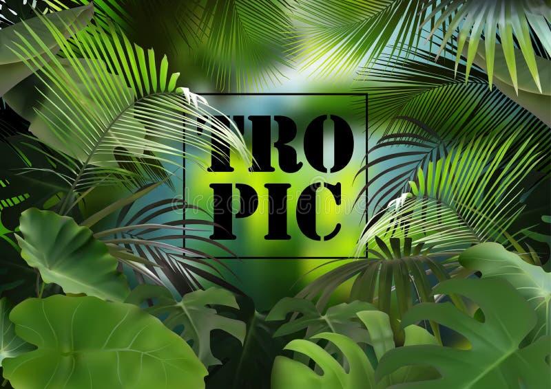 Fondo tropical con la vegetación fotorrealista stock de ilustración