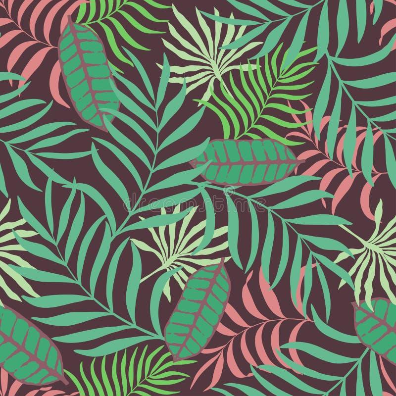 Fondo tropical con las hojas de palma Estampado de flores inconsútil de la selva libre illustration