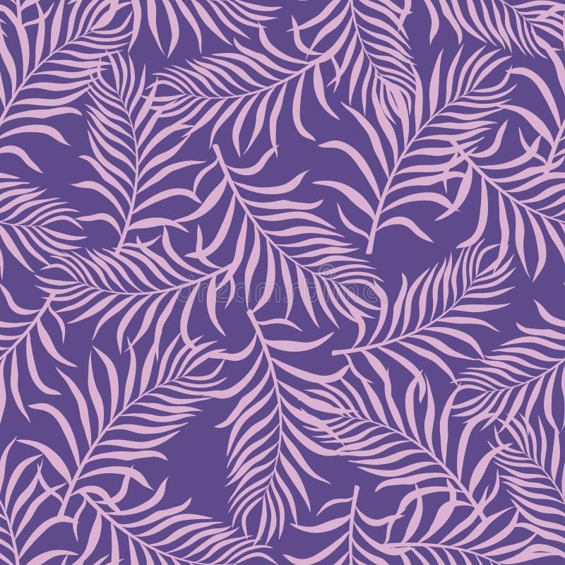 Fondo tropical con las hojas de palma Modelo floral inconsútil S stock de ilustración