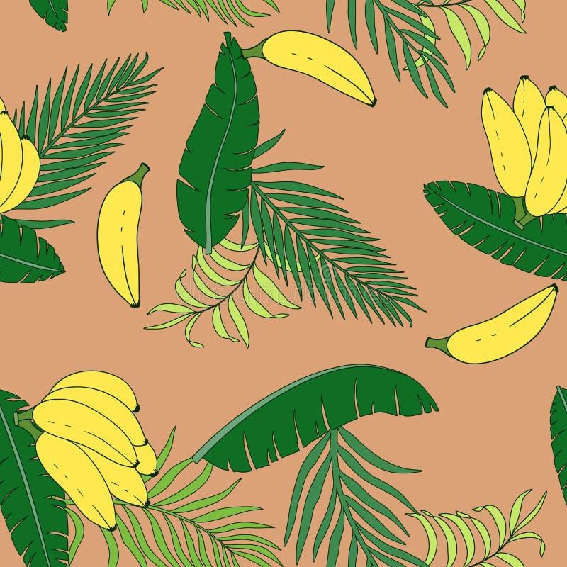 Fondo tropical con las hojas de palma y los plátanos Flora inconsútil libre illustration