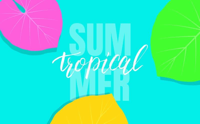 Fondo tropical con las hojas exóticas coloridas para la venta, promoción, descuento, web libre illustration