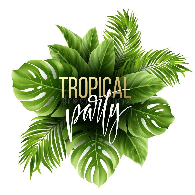 Fondo tropical de la hoja del verano con las hojas de palma exóticas Plantilla del aviador del partido Letras de la escritura Vec ilustración del vector