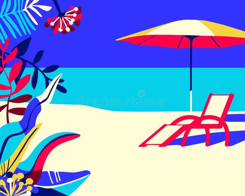 Fondo tropical de la playa con con la silla de cubierta y el parasol de playa stock de ilustración