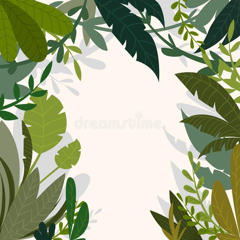 Fondo tropical de la selva con las palmeras y las hojas en estilo de la historieta ilustración del vector