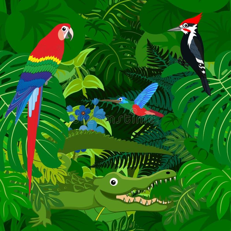 Fondo tropical de la selva de la selva tropical del vector inconsútil con los animales de los niños ilustración del vector