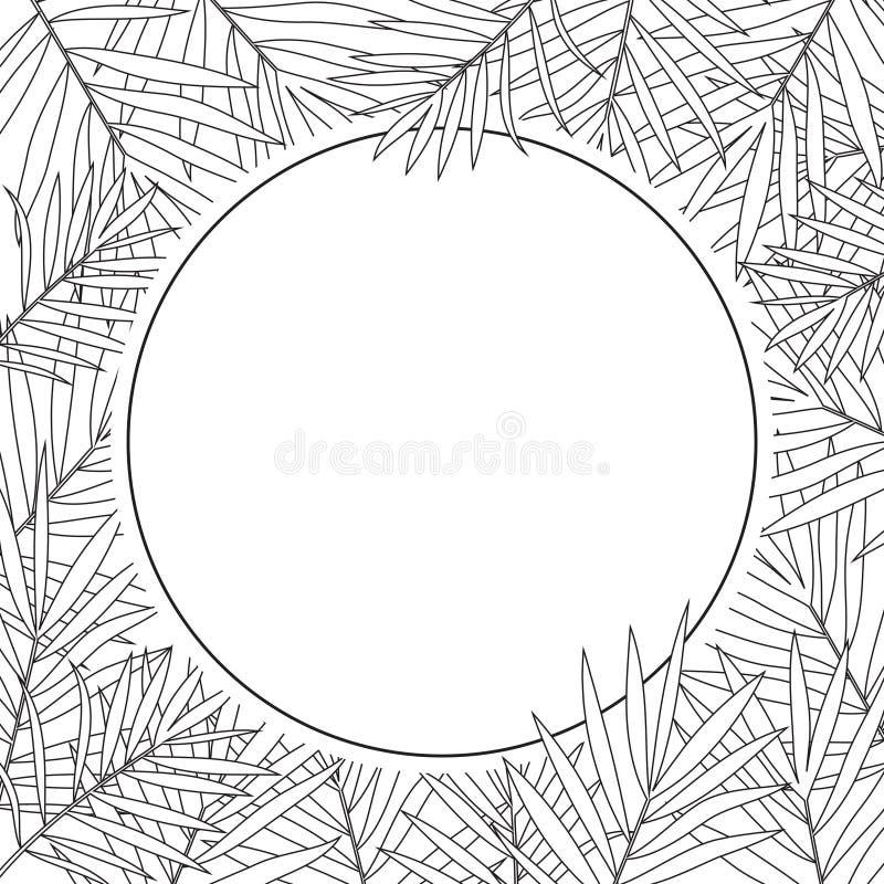 Fondo tropical de las hojas de palma blanco y negro libre illustration
