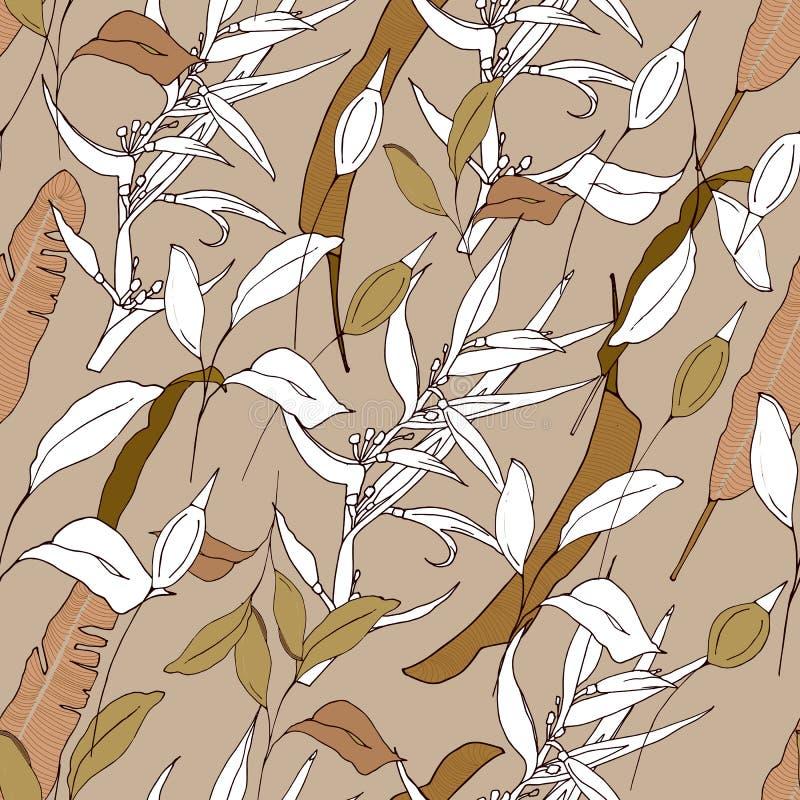 Fondo tropical de sus plantas del verde y del contorno Textura marrón clara/beige para las telas, las tejas, el papel y el papel  ilustración del vector