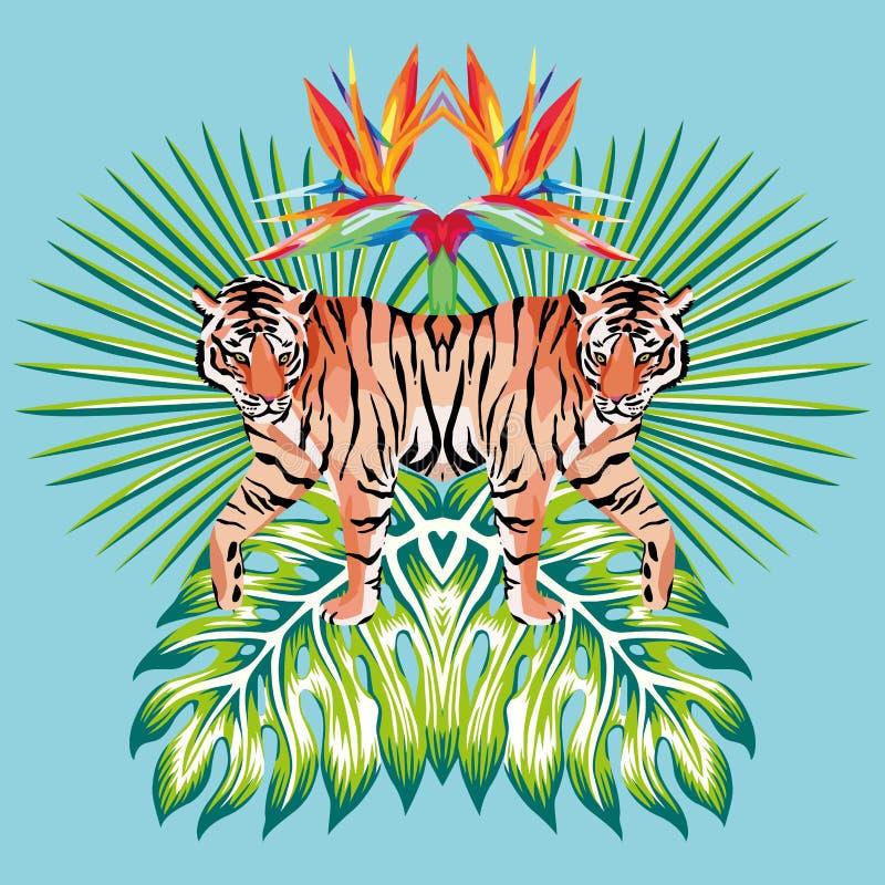 Fondo tropical del azul de las hojas de la impresión del espejo del tigre libre illustration