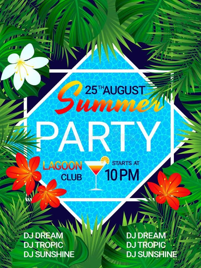 Fondo tropical del cartel del partido del verano con el texto Diseño de la fiesta en la piscina Flores tropicales, hojas exóticas ilustración del vector