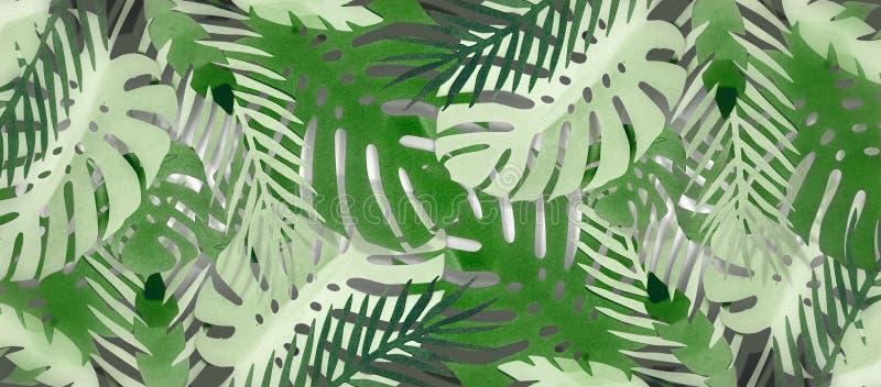 Fondo tropical del follaje de las hojas con Monstera y las hojas de palma, hechos con el papercraft Disposición de la selva bande ilustración del vector