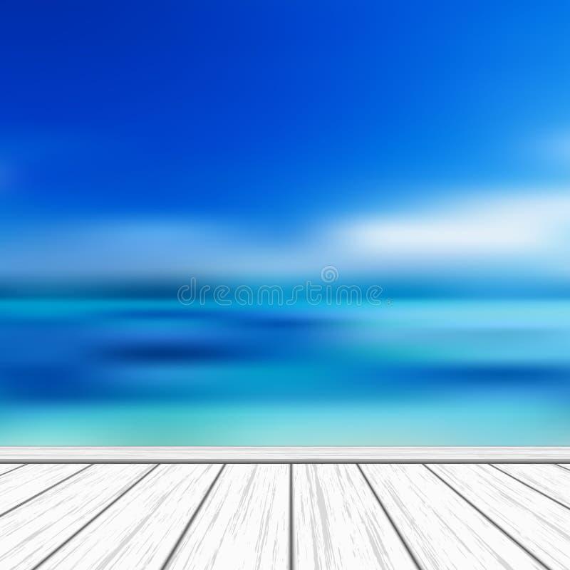 Fondo tropical del vector con el fondo borroso del mar de la turquesa y el cielo azul stock de ilustración