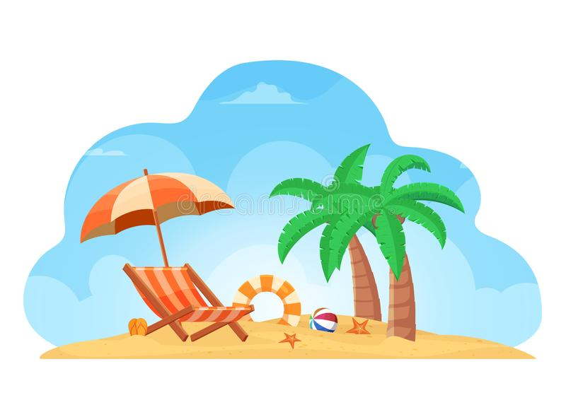 Fondo tropical del verano de la playa con las estrellas de mar de la bola del árbol de coco del anillo de vida del deslizador del ilustración del vector