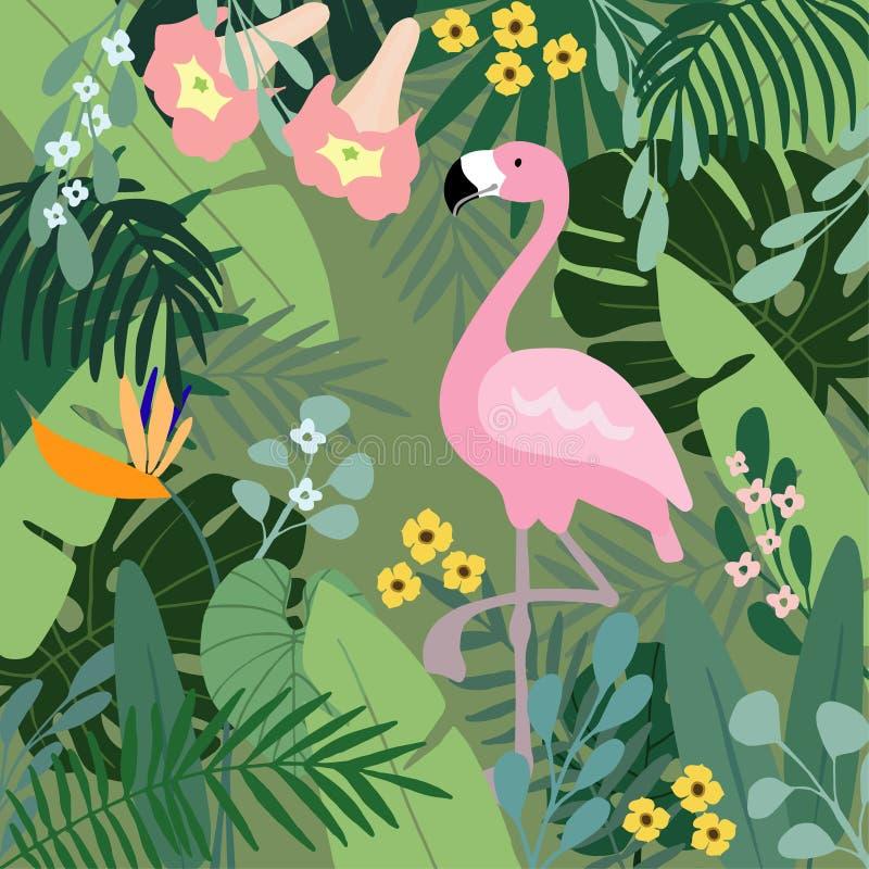 Fondo tropical del verano El pájaro del flamenco con las hojas de la palma y del plátano, monstera y datura florece Vector común libre illustration