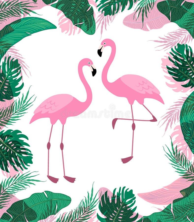 Fondo tropical exótico lindo con los personajes de dibujos animados de dos flamencos rosados libre illustration