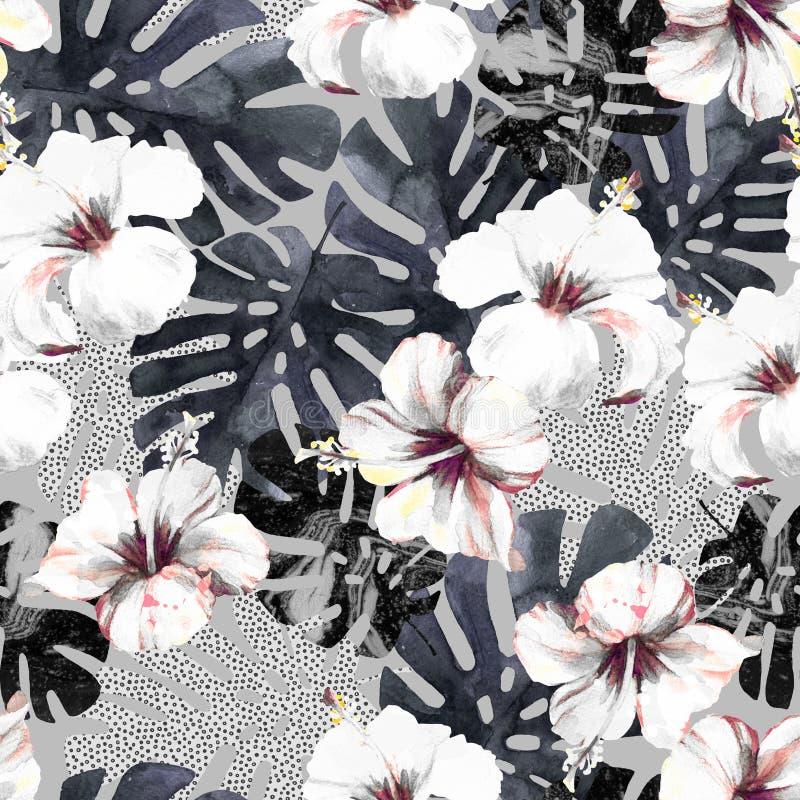 Fondo tropical exhausto del verano de la mano: flor del hibisco de la acuarela, hoja del monstera, silueta, texturas de mármol, p stock de ilustración