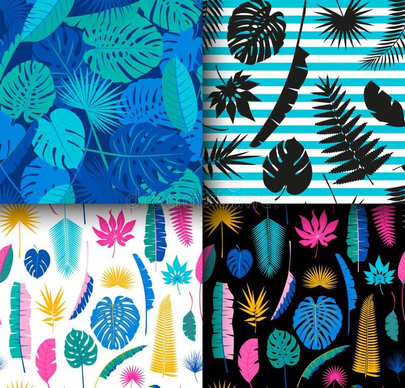 Fondo tropical inconsútil hermoso de 4 estampados de flores de la selva con diversas hojas de palma conjunto ilustración del vector
