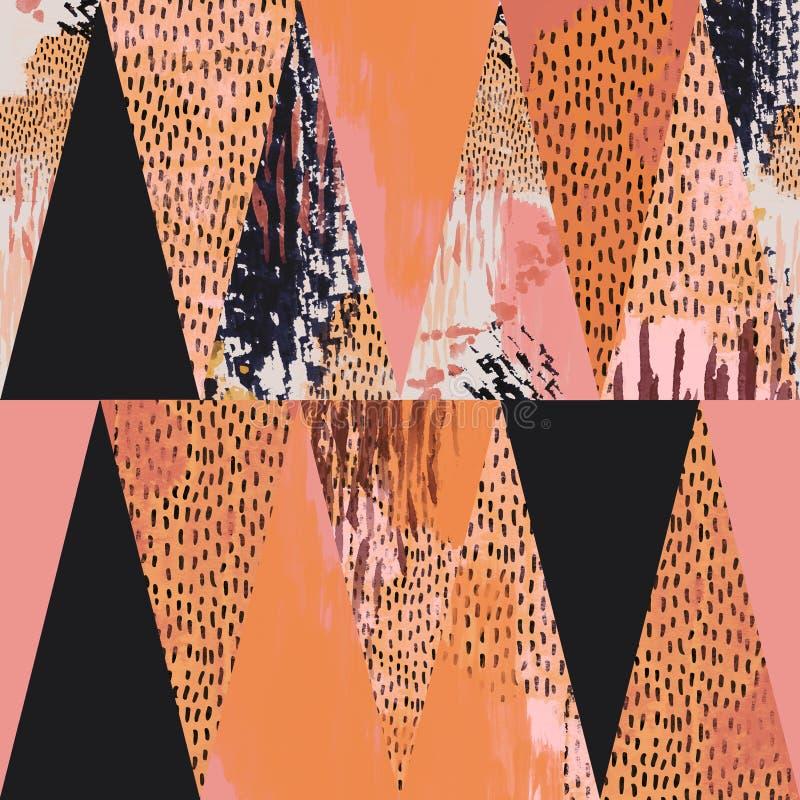 Fondo tropicale astratto dell'acquerello e geometrico illustrazione di stock