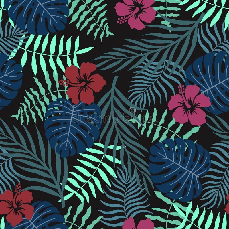 Fondo tropicale con le foglie di palma ed i fiori Reticolo floreale senza giunte Illustrazione di vettore di estate Stampa piana  illustrazione di stock